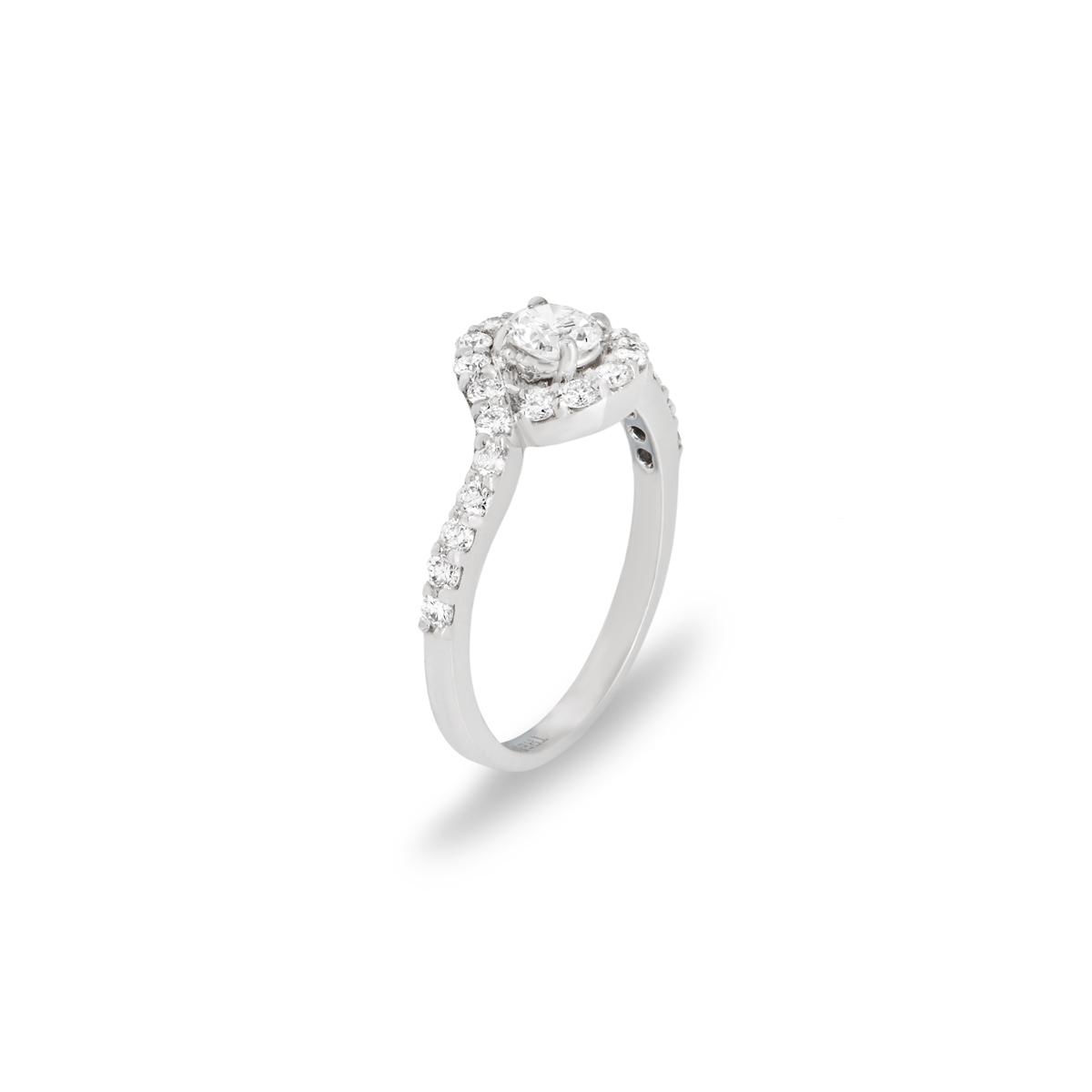 18k White Gold Round Brilliant Cut Diamond Ring 0.38ct H/VS1